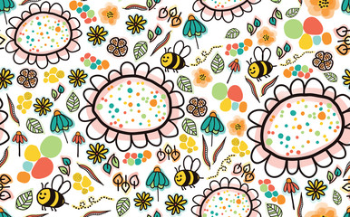 Doodle bees and flowers seamless pattern on a white background. Perfect for the kids market. To find coordinating patterns, check out my portfolio page!