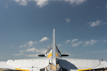 Silver Harvard, Fighter Plane, Against Sky