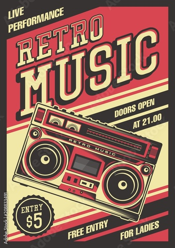 Retro Boombox Music Tape Recorder Radio Old Vintage Signage Poster Vector Canvas Print