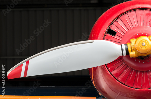 Foto op Aluminium Arctica Airplane, red cowling and white prop