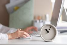 Alarm Clock And Blurred Woman ...