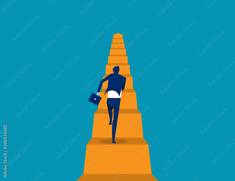 Fototapeta Business running move up. Concept business vector illustration, Flat business cartoon, The way forward, Character style design.