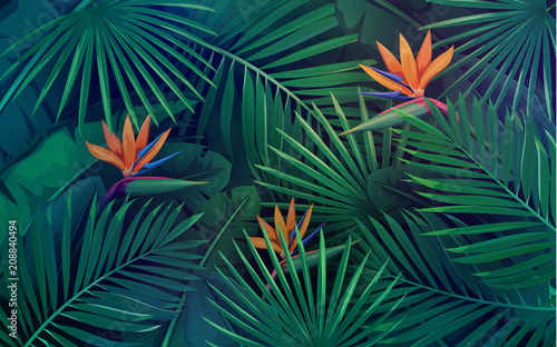 Obraz tropical leaves seamless pattern - fototapety do salonu
