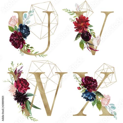Floral Alphabet Set Letters U V W X With Flowers Bouquet