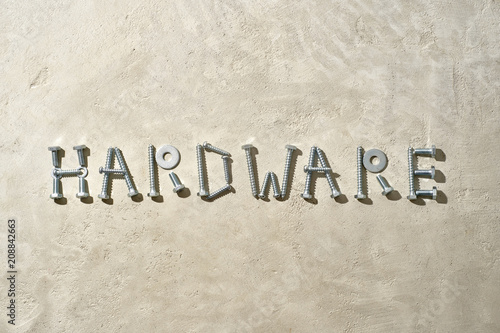 HARDWARE spelled out in nuts, bolts and washers