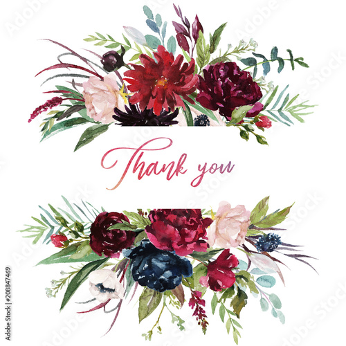 Watercolor Floral Illustration Burgundy Flowers Border Frame For