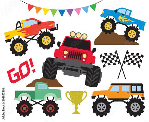 Staande foto Cartoon cars Set of monster truck or off road truck vector illustration.