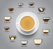 Set of espresso coffee types. Vector illustration. Ready to use for your design, presentation, menu, ad. EPS10.