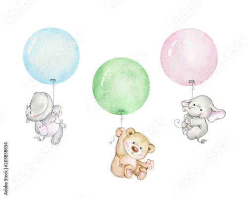 Obraz na plátně  Teddy bear, elephant and hippopotamus flying on balloons