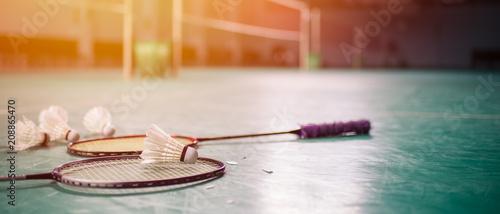 Badminton ball (shuttlecock) and racket on court floor Wallpaper Mural