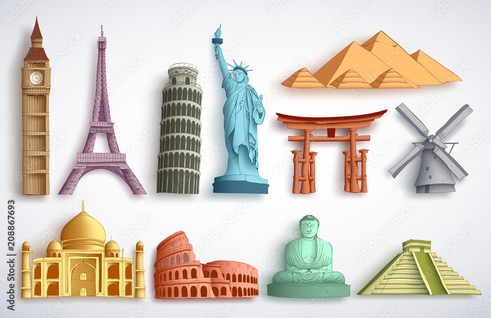 Fototapety, obrazy: Travel landmarks vector illustration set. Famous world destinations and monuments of different city attractions for tourists and travelers in white background.