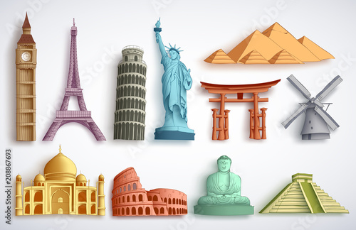 Fotografía Travel landmarks vector illustration set