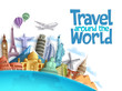 Travel around the world vector background and template with famous landmarks and tourist destination elements for travel and tour design. Vector illustration.