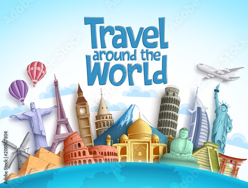 Travel around the world vector design with famous landmarks and tourist destination of different countries and places in blue background Wallpaper Mural