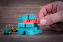 Ethics Business Concept With Colorful Wooden Blocks.