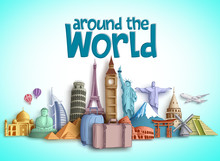 Travel Around The World Vector Banner Design With Travel Destinations And Famous Tourist Landmarks Of Different Countries. Colorful Buildings And Monuments Vector Elements.