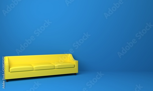 Yellow Leather Sofa And Chair In Blue Color Room Modern Design