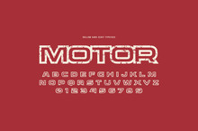 Hollow Sans Serif Font In Racing Style