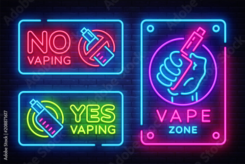 Vaping neon signs collection vector template, light banner
