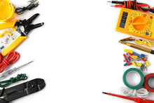 Electrician's Supplies On White Background