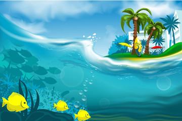 Fototapeta na wymiar Summer beautiful island in the sea with hotels