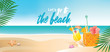 Summer beach background with refreshing drinks, panoramic banner