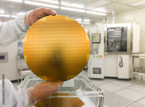 Obraz hi-tech industry: Hand with white gloves. holds a silicon wafers and reflection shadow, blurred background - fototapety do salonu