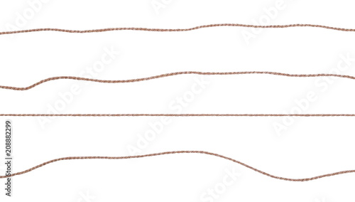 String, rope isolated on white background texture, top view Canvas Print