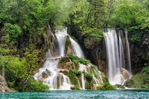 Magic waterfall in Plitvice, Croatia