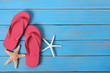Flip flops beach summer starfish background border