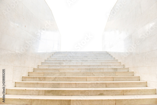 Spoed Foto op Canvas Trappen Marble staircase with stairs in abstract luxury architecture isolated on white background