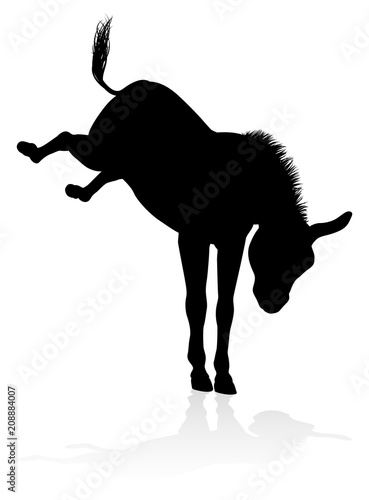 Donkey Animal Silhouette Fototapet