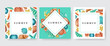 Card frame set with shells and starfish, for tropical design. Vector illustration, paper card collection with three designs