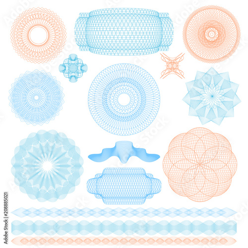 Guilloche Rosette Signs Color Thin Line Icon Set. Vector Canvas Print