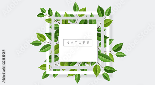 Geometric nature frame with tree branches and leaves. Vector illustration for nature related and eco design