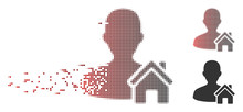 Vector Home User Icon In Fractured, Pixelated Halftone And Undamaged Whole Versions. Disintegration Effect Involves Rectangular Scintillas And Horizontal Gradient From Red To Black.