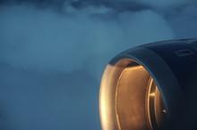 Airplane Engine Illuminated By The Sun