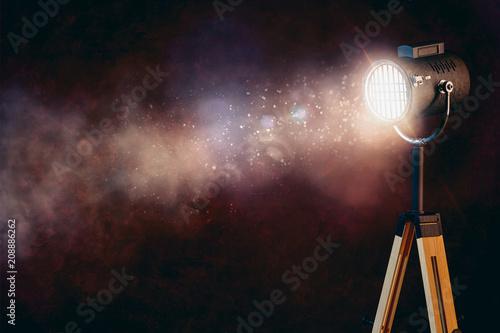 Obraz na plátne 3d stage spot light with smoke on black background