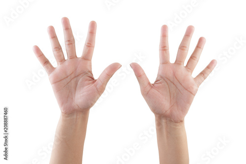 Right hand shown as number Ten from front isolated on white background Canvas Print