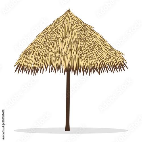 Foto Bamboo beach umbrella isolated on white