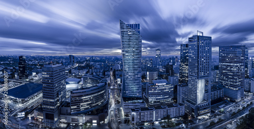 Fototapeta Warsaw, Poland, April 2018:Panoramic view of Warsaw downtown during the night obraz