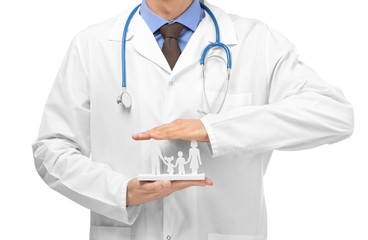 Male doctor with family figure on white background