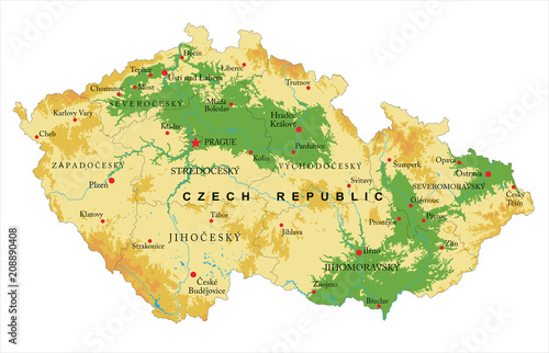 Photo  Czech Republic relief map