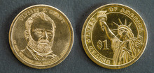 1 Dollar Coin With The Image Of Ulysses S. Grant, 18th President Of The United States Of America