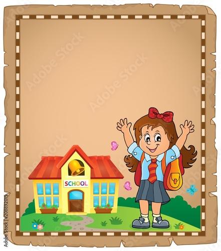 Deurstickers Voor kinderen Happy pupil girl theme parchment 1
