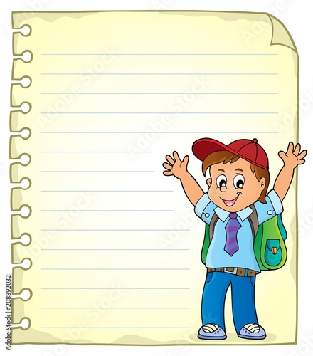 Poster Voor kinderen Notepad page with happy pupil boy