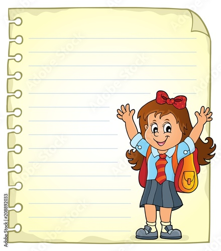 Poster Voor kinderen Notepad page with happy pupil girl