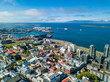 Reykjavik Iceland city capital view from the top. aerial photo