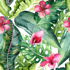 Fototapeta Do jadalni Tropical seamless floral summer pattern background with tropical palm leaves, pink flamingo bird, exotic hibiscus. Perfect for jungle wallpapers, fashion textile design, fabric print.