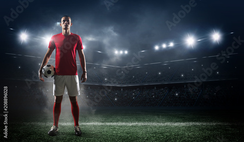 Soccer player in action on stadium background. Wallpaper Mural